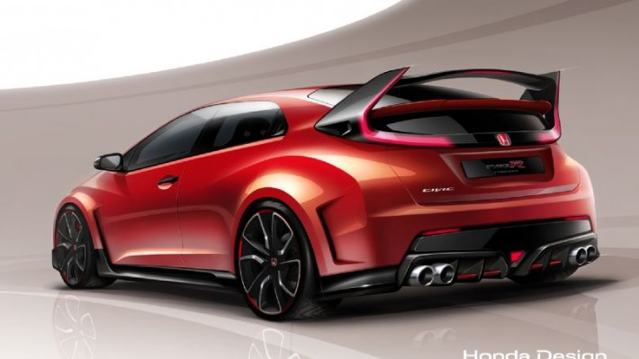 Honda civic type r concept rendering rear three quarter