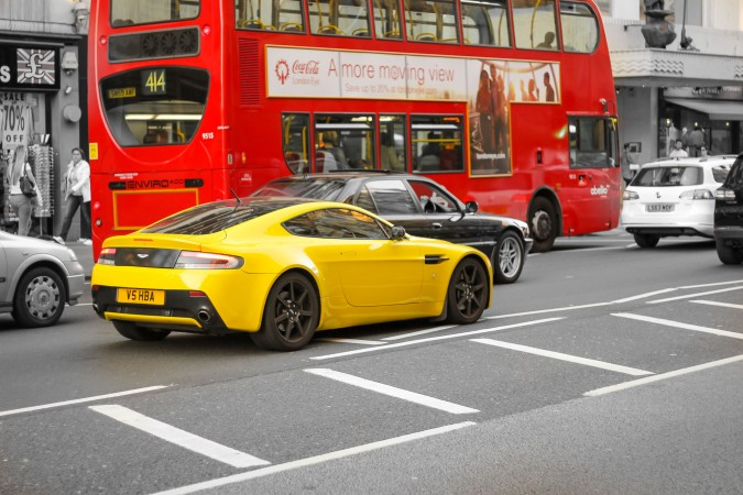 Knightsbridge Car Spotting London 12 Yellow Aston Marin Vantage