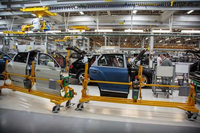 Bentley Factory - Bentayga Production Line - Doors to be fitted.