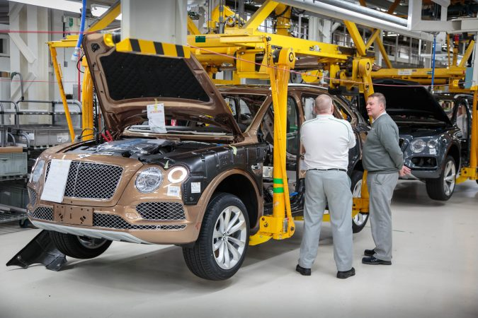 Bentley Motors Factory Production Line Bentayga - Employees Talking