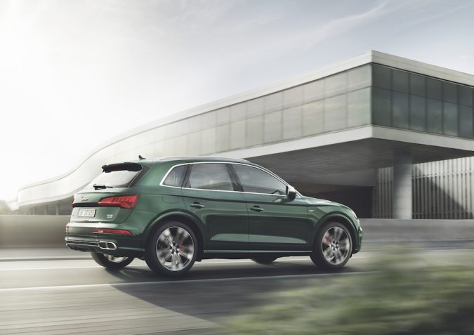 Audi SQ5 side rear view in Azores green metallic