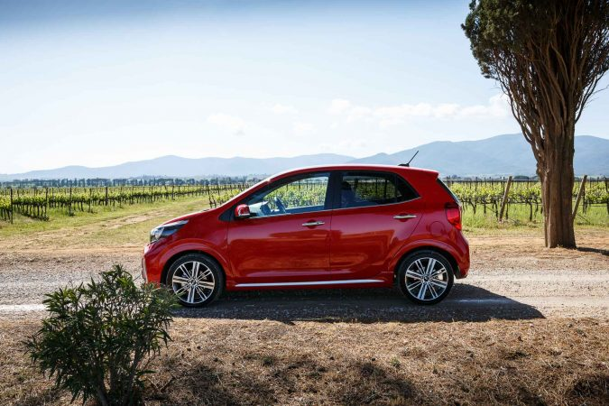 Kia Picanto GT-Line S red side on alloy wheels