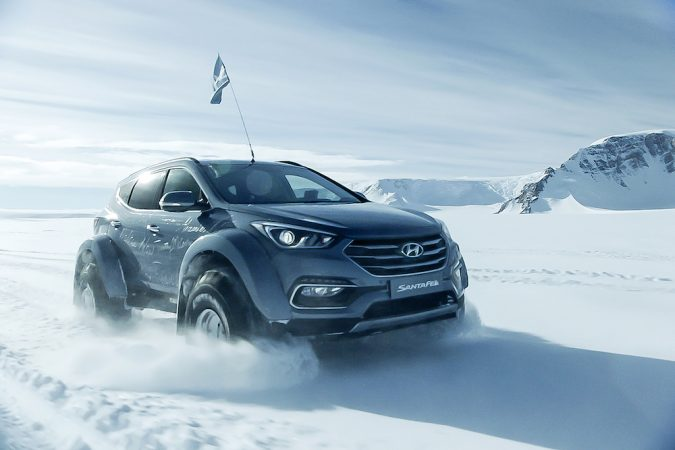 Hyundai across Antarctica with snow cloud
