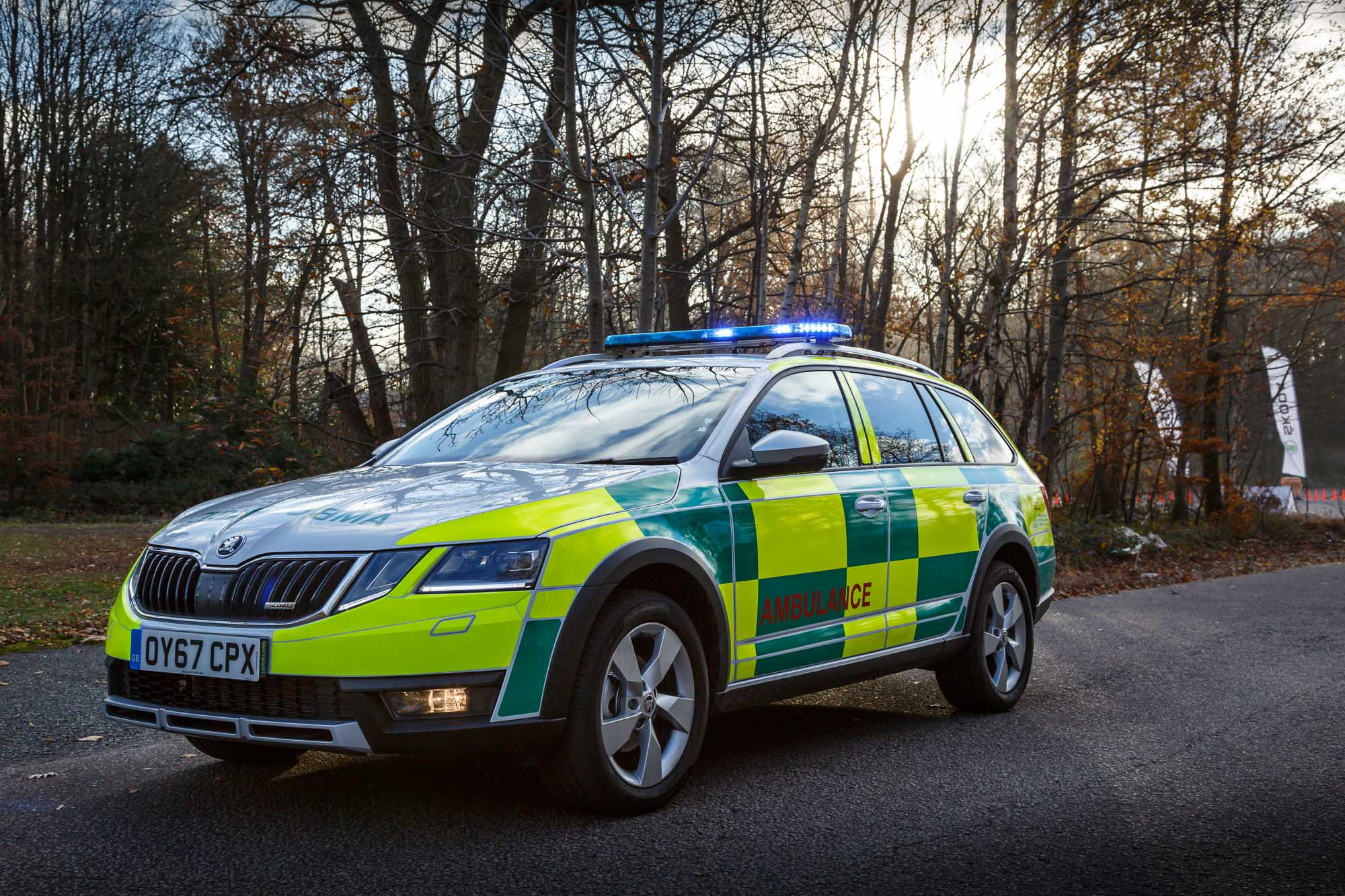 behind the wheel of a skoda octavia estate scout ambulance. Black Bedroom Furniture Sets. Home Design Ideas