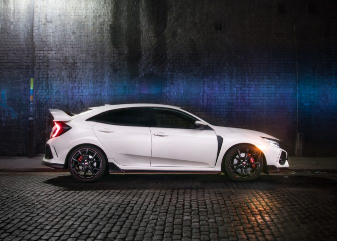 Honda Civic Type R FK8 GT - Light Painting In Championship White side on.
