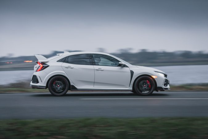 Honda Civic Type R FK8 GT - In Championship White 2018 panning shot.