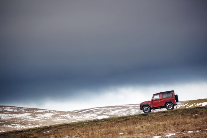 Land Rover Defender Works V8 up mountain