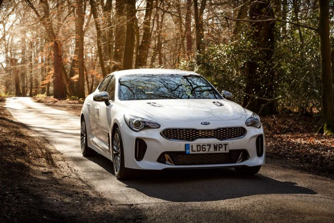 Kia Stinger GT-Line 2018 Front on in white.