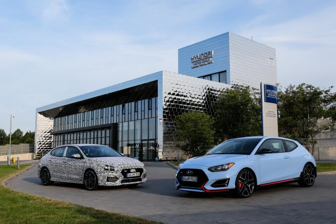 Hyundai i30 Fasbtack N and Veloster N outside Testing Facility
