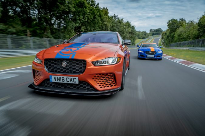 Jaguar XE SV Project 8 2 seat and 4 seat cars on track
