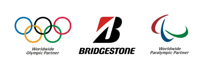 Worldwide Olympic Partner logo, Bridgestone logo and Worldwide Paralympic Partner logo