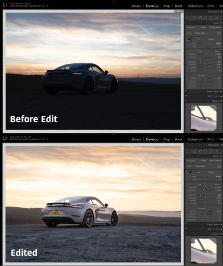 Example of before and after edit of car photography