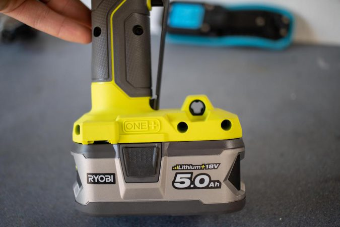 Ryobi Ratchet Wrench with 5.0ah battery attached
