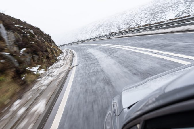 Fast Icey Corner - Snake Pass - VW Golf - Goodyear